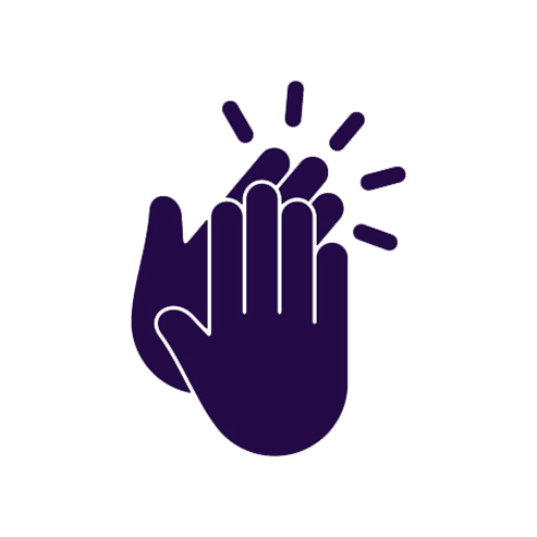 Cartoon of purple hands clapping