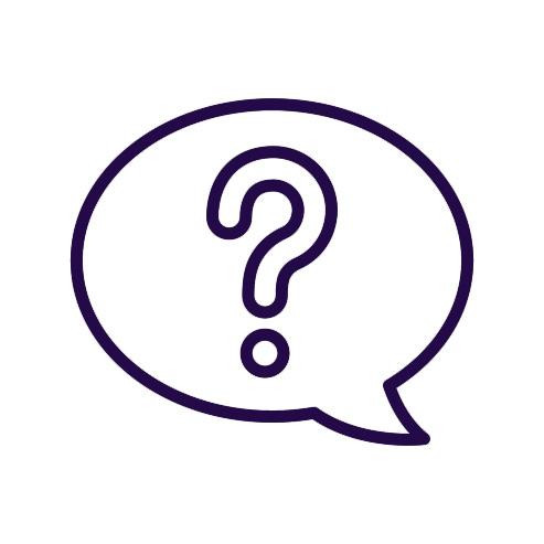 Cartoon question mark in a speech bubble coloured dark purple