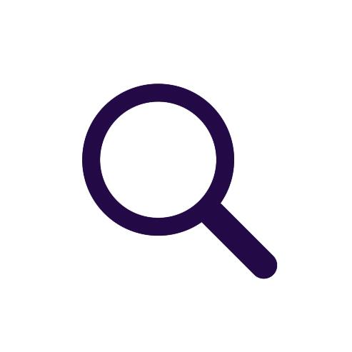 Dark purple cartoon magnifying glass on a white background